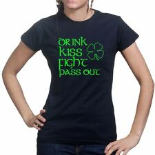 Drink Fighting Irish St Patrick Leprechaun Shamrock Ladies T shirt Tee Top