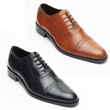 Mens Real Leather Lined Brogue Formal Lace Up Office or Formal Black & Tan Shoes