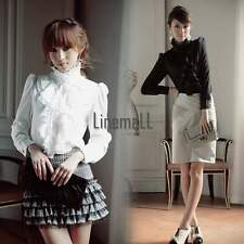 Flouncing Luxury Long Sleeve Stand Collar Tops Ruffle T-Shirt Blouse 3 size LM