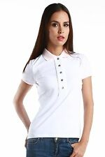 Authentic Fred Perry Green Label MADE IN ITALY Women White Polo with Pink Collar