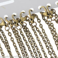 Wholesale Lots Bronze Tone Lobster Clasp Link Chain Necklaces 20""