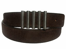 New Men's Marco Valentino Italy Dressy Brown Suede Leather Belt Silver Buckle