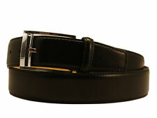 New Men's Marco Valentino Italy Dressy Belt Black Leather Gray Buckle