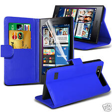 Premium Quality PU Leather Wallet Case Cover, LCD Film & Pen For Blackberry Leap
