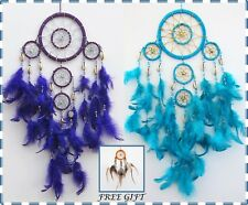DREAM CATCHER white purple or teal shells feathers handmade - FREE GIFT