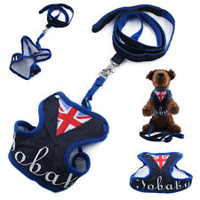 Union Jack Pet Dog Cat Puppy Harness Vest Safety Soft Clothes Collar Leash Walk