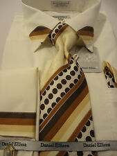 Mens Off-White Cool Brown Striped Collar French Cuff Dress Shirt & Polka Dot Tie