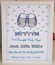 Personalised New Baby, Birth,Christening Boy Framed Handmade Gift Keepsake