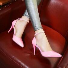 New womens high heels mary jane shoes stilettos ankle strap pumps Dress pointy