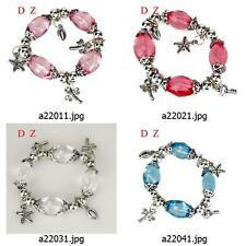 a220m36 Women's Crystal Gift Beads elastic stretch Dangle Bangle Bracelet