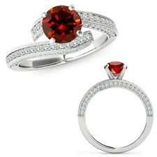 1 Carat Red Diamond Filigree By Pass Solitaire Anniversary Ring 14K White Gold