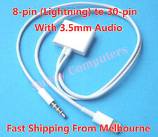 iPhone iPod iPad 4 Air Mini 8Pin to 30Pin Dock Cable Adapter Cord With AUX Audio
