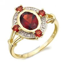 Size 6,7,8,9,10 Halo Red Garnet 18K Gold Filled Womens Wedding Band Fashion Ring