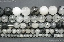 Natural Rutilated Quartz Gemstone Round Beads 6mm 8mm 10mm 12mm 14mm 16mm 16''