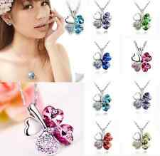 Women Happiness Clover Four Leaf Crystal rhinestone Pendant Chain Necklace one