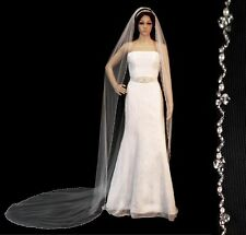Crystal Pearl Beaded Edge Cathedral Bridal Wedding Veil White Ivory or Champagne