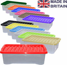 2 x 32L 32 Litre Underbed Plastic Storage Clear Box Stack Container + Colour Lid