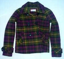 Womens AEROPOSTALE Plaid Pea Coat Peacoat Jacket NWT #8259