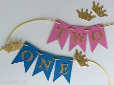 ONE, TWO, THREE, etc cake bunting cake topper- flags, garland, Birthday