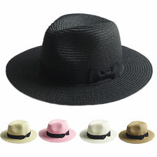 Unisex Adults Kids Fedora Trilby Wide Brim Straw Hat Bowknot Summer Pananma Cap