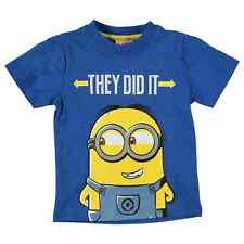 BOYS KIDS CHILDRENS BLUE DESPICABLE ME MINIONS MINION T-SHIRT TOP SHIRT