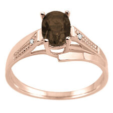 Oval Smokey Quartz and Diamond Wave Ring For Wedding/Engagement in 10K Gold