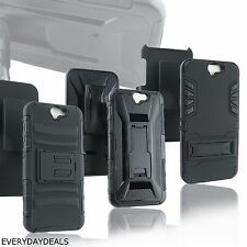 Heavy Duty Rugged Armor Hybrid Case Kickstand Belt Clip Holster for HTC ONE A9