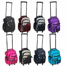 """Deluxe Wheeled Rolling 18"""" Carry on Travel Backpack"""
