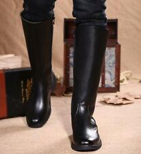 Men's casual  side zipper mid-calf boots Black Knight Riding shoes size US 11