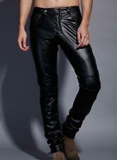 Hot sale stylish mens casual pu leather motorcycle pants trousers SZ 29-37