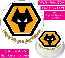 WOLVERHAMPTON FOOTBALL TEAM EDIBLE WAFER & ICING PERSONALISED CAKE TOPPER WOLVES