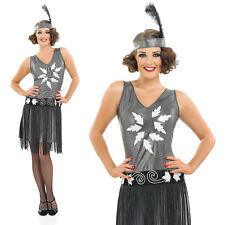 Ladies 1920s Silver Fancy Dress Costume Charleston Flapper Outfit UK 8-30