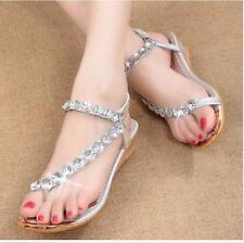 Sexy Womens Silver Rhinestone Bling Party Sandals Low Heels Beach Shoes Size 5-8