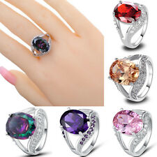 5Color Oval Cut Gemstones White Topaz Silver Ring Women Girls Gift Size 8 9 10