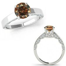 0.75 Ct Champagne Color Diamond Vintage Beautiful Solitaire Ring 14K White Gold