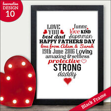 Fathers Day Gifts Personalised Love Heart Word Art Dad Daddy Grandad Gramps Love