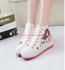 Womens Cartoon Canvas High Top Sneakers Casual Platform Creeper Lace Up Shoes 8