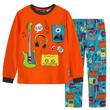 Pyjamas Boys Cotton Flannel Pjs Set (Sz 3-7) Orange Aqua Music Sz 3 4 5 6 7