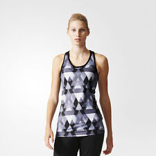 Adidas Techfit AOP Womens Grey Black Climalite Running Gym Vest Tank Top
