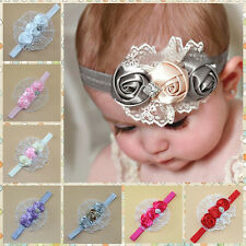Elastic Headbands Rose Flower Crystal Infant Baby Hair Accessories for Children