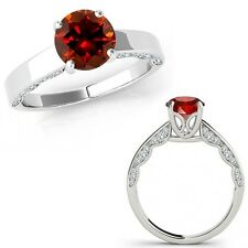 0.75 Carat Red Diamond Vintage Beautiful Solitaire Wedding Ring 14K White Gold