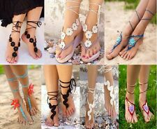Crochot Bridal Barefoot Lace shoes Beach Wedding Barefoot Sandals Foot Jewerly