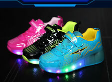 Kids LED Roller Skate Shoes Sneakers Grid Heelys Luminous Casual Sportswear