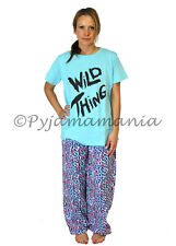 Pyjamas Ladies Cotton Top Flannel 2 pc Pjs Set (sz S-XL) Blue 'Wild Thing'  Sz 8