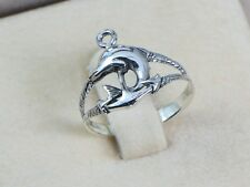 Solid 925 Sterling Silver Ring Women Men Teen  Dolphin & Anchor Size 5 6 7 8