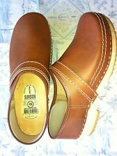 Dutch Leather Wooden Clog Shoe  Antique Brown HUGE WINTER SALE & Free Gift