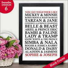 Disney Couples Personalised Wedding Anniversary Engagement Presents Gifts Prints