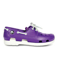 NEW Crocs Kids Beach Line Patent Boat Shoe Girls Flats SZ 1 2 3