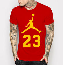 Men's Michael Jordan New T-shirt Red with Yellow Fashion Tee Shirt M - 3XL