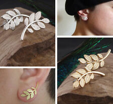 Women Charm Alloy Silver Symmetry Leaf Design Stud Ear Cuff Earrings Jewelry